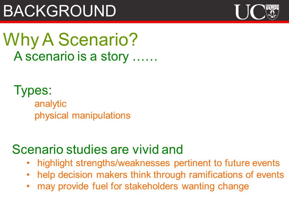 Why A Scenario BACKGROUND A scenario is a story …… Types:
