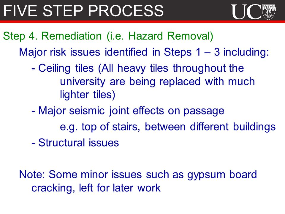 FIVE STEP PROCESS Step 4. Remediation (i.e. Hazard Removal)