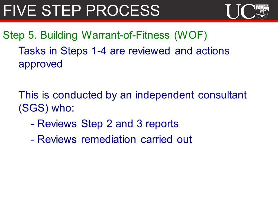 FIVE STEP PROCESS Step 5. Building Warrant-of-Fitness (WOF)