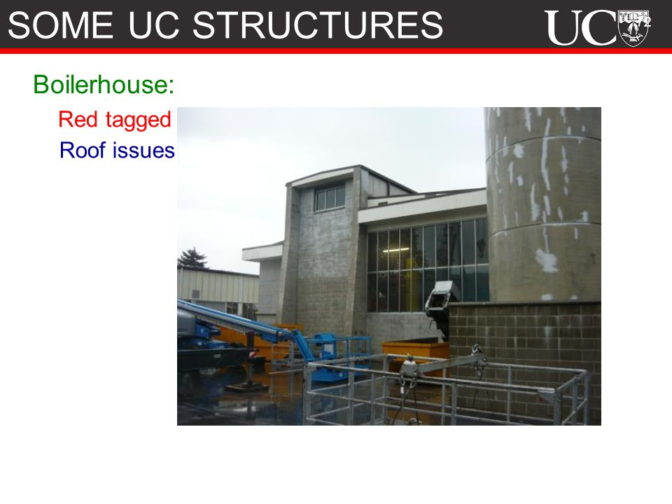 SOME UC STRUCTURES Boilerhouse: Red tagged Roof issues