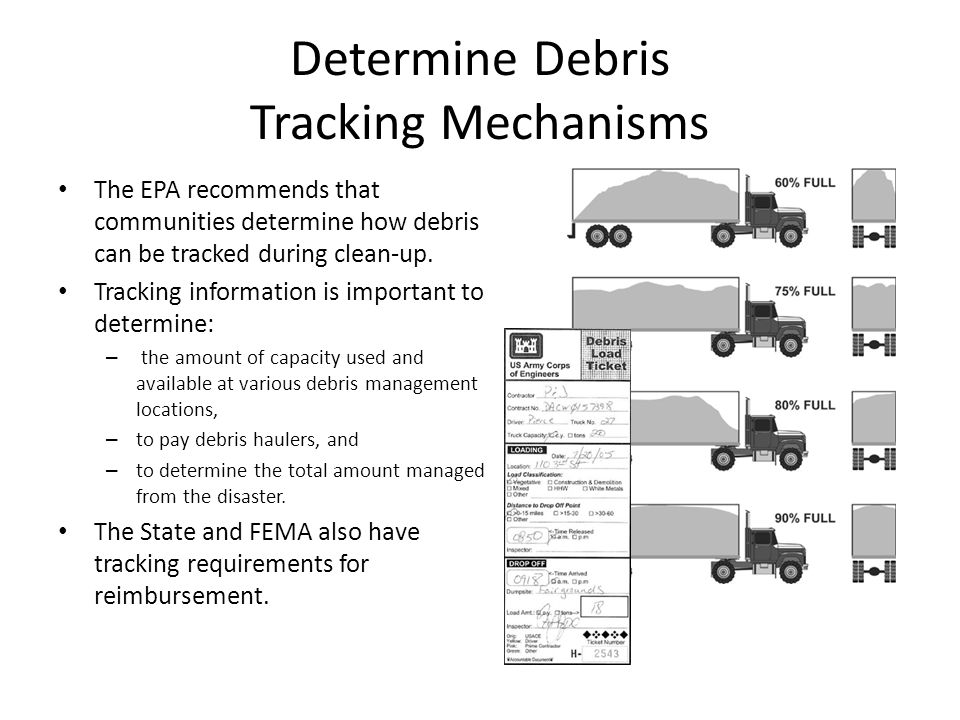 Determine Debris Tracking Mechanisms