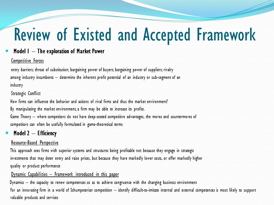 Review of Existed and Accepted Framework