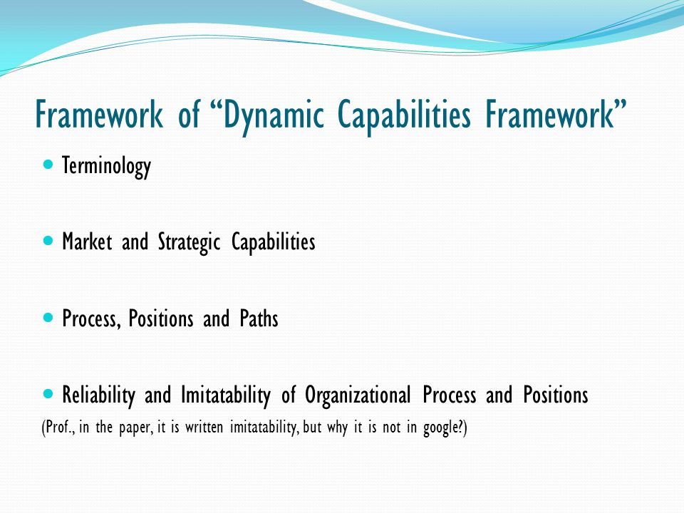 Framework of Dynamic Capabilities Framework