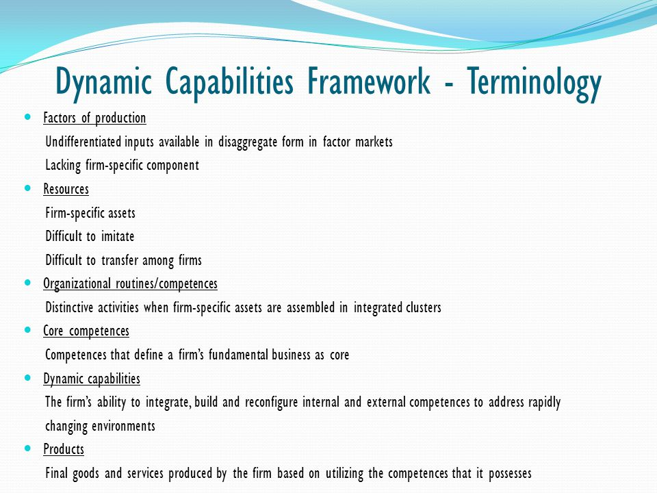 Dynamic Capabilities Framework - Terminology