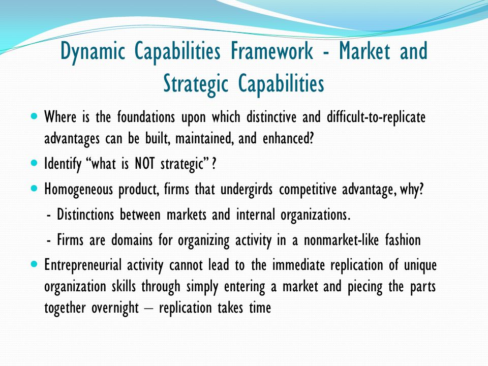 Dynamic Capabilities Framework - Market and Strategic Capabilities