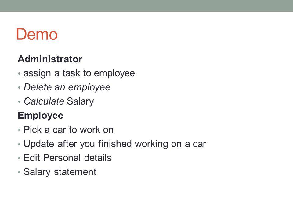Demo Administrator assign a task to employee Delete an employee