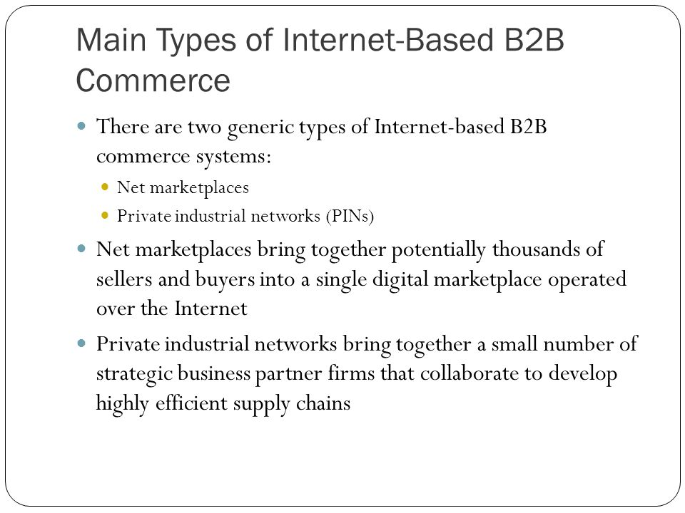 Main Types of Internet-Based B2B Commerce