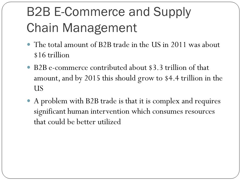 B2B E-Commerce and Supply Chain Management