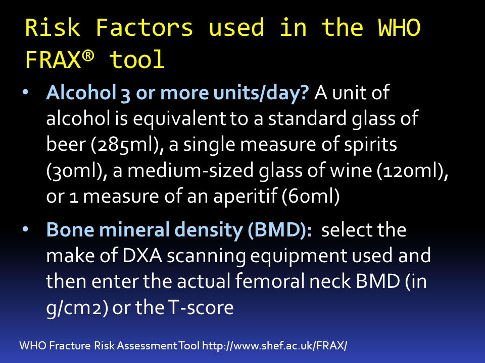 Risk Factors used in the WHO FRAX® tool