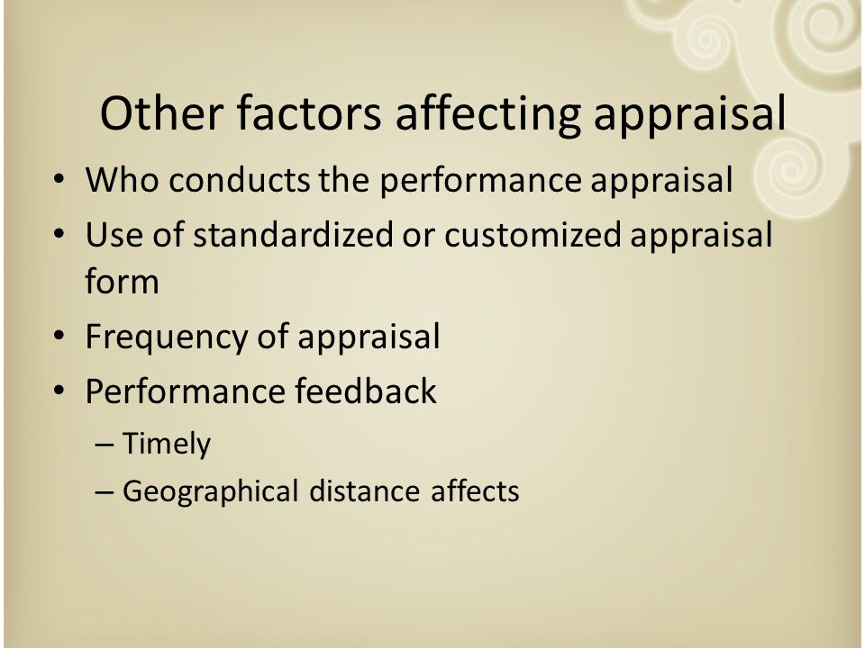 Other factors affecting appraisal