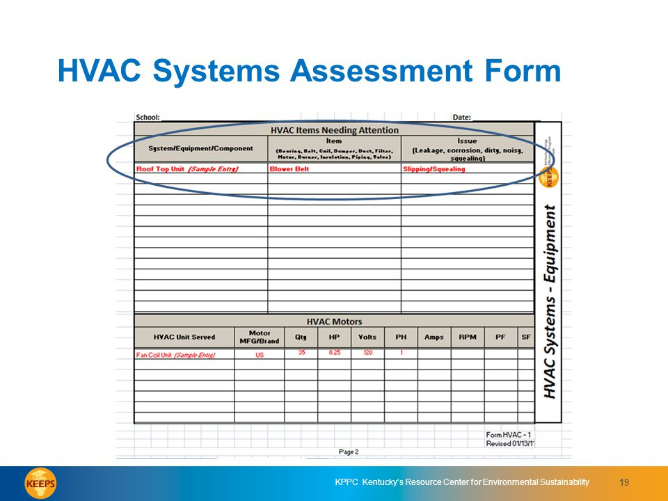 HVAC Systems Assessment Form 7