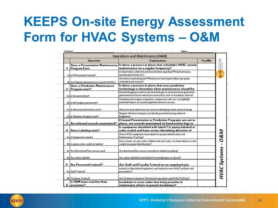 KEEPS On-site Energy Assessment Form for HVAC Systems – O&M