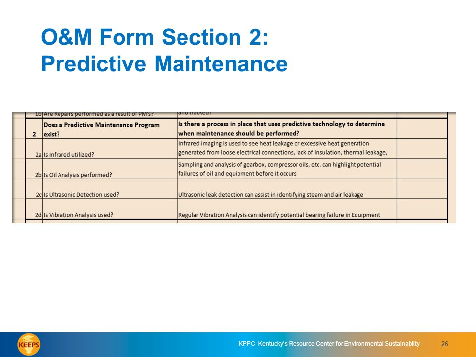 O&M Form Section 2: Predictive Maintenance