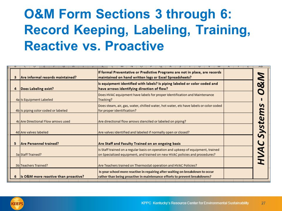 O&M Form Sections 3 through 6: Record Keeping, Labeling, Training, Reactive vs. Proactive
