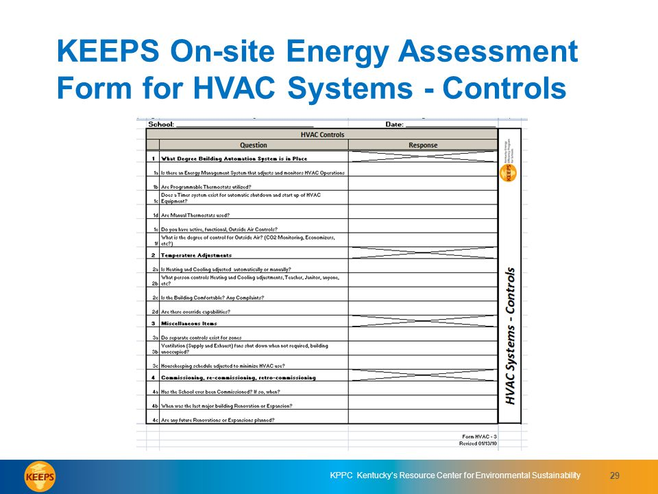 KEEPS On-site Energy Assessment Form for HVAC Systems - Controls