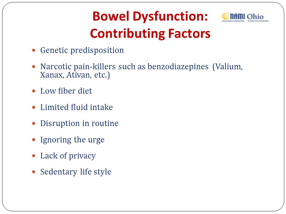 Bowel Dysfunction: Contributing Factors
