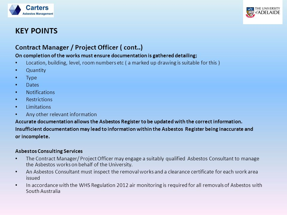 KEY POINTS Contract Manager / Project Officer ( cont..)