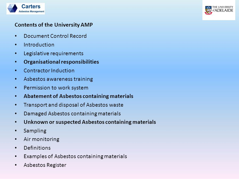 Contents of the University AMP