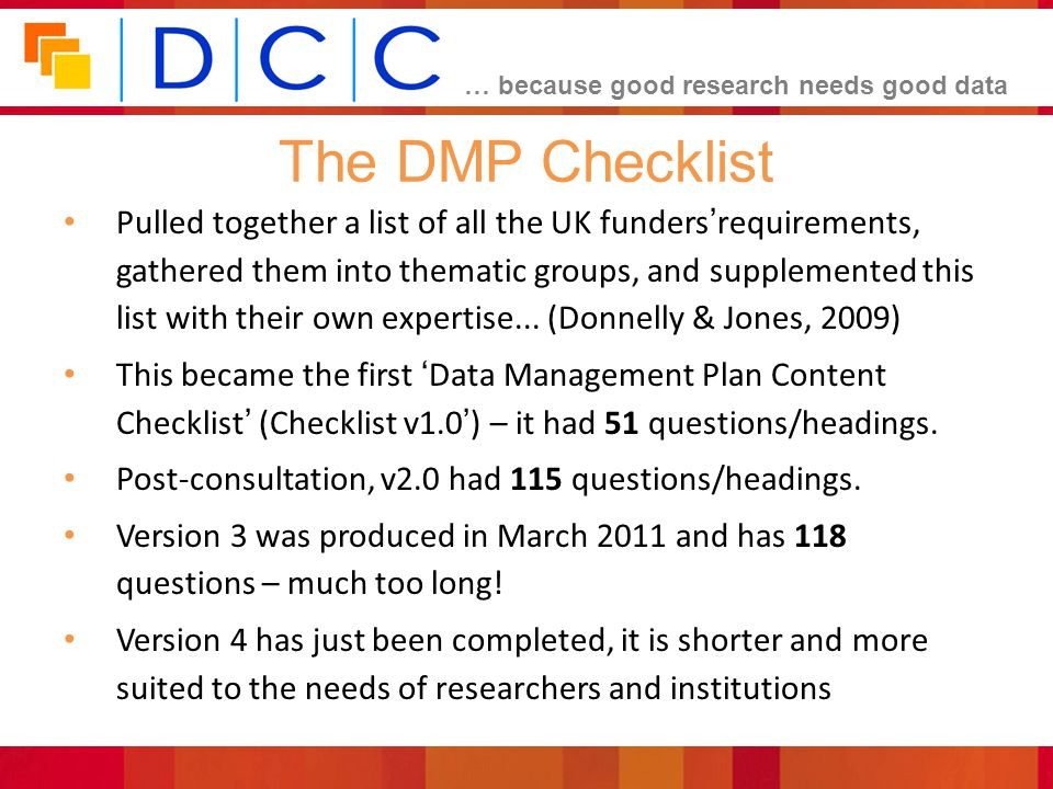 The DMP Checklist