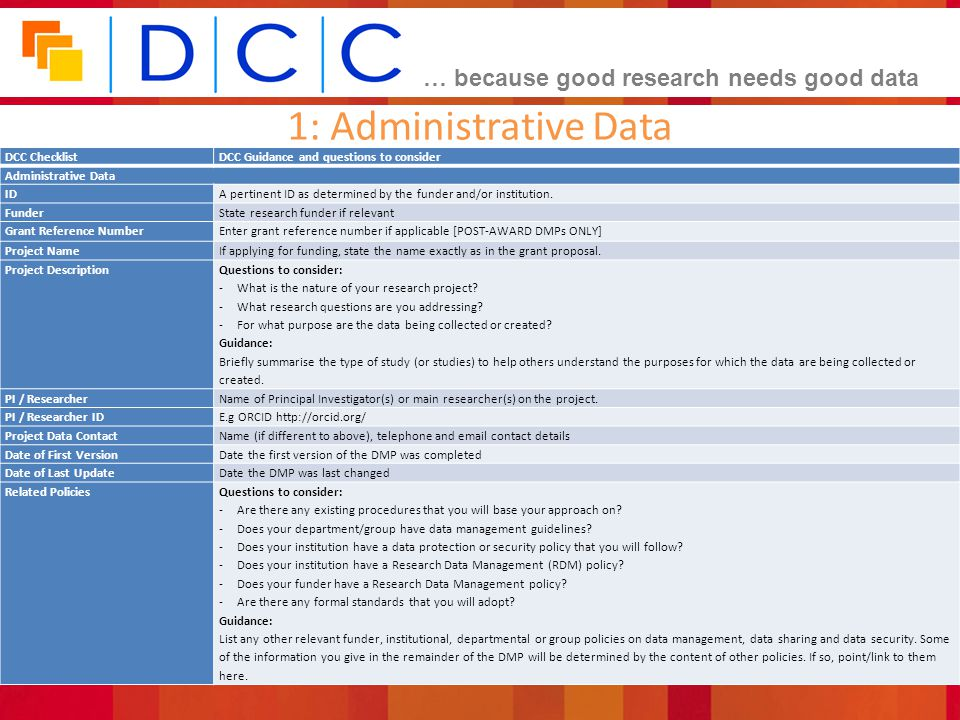 1: Administrative Data Overview of functionality... DCC Checklist