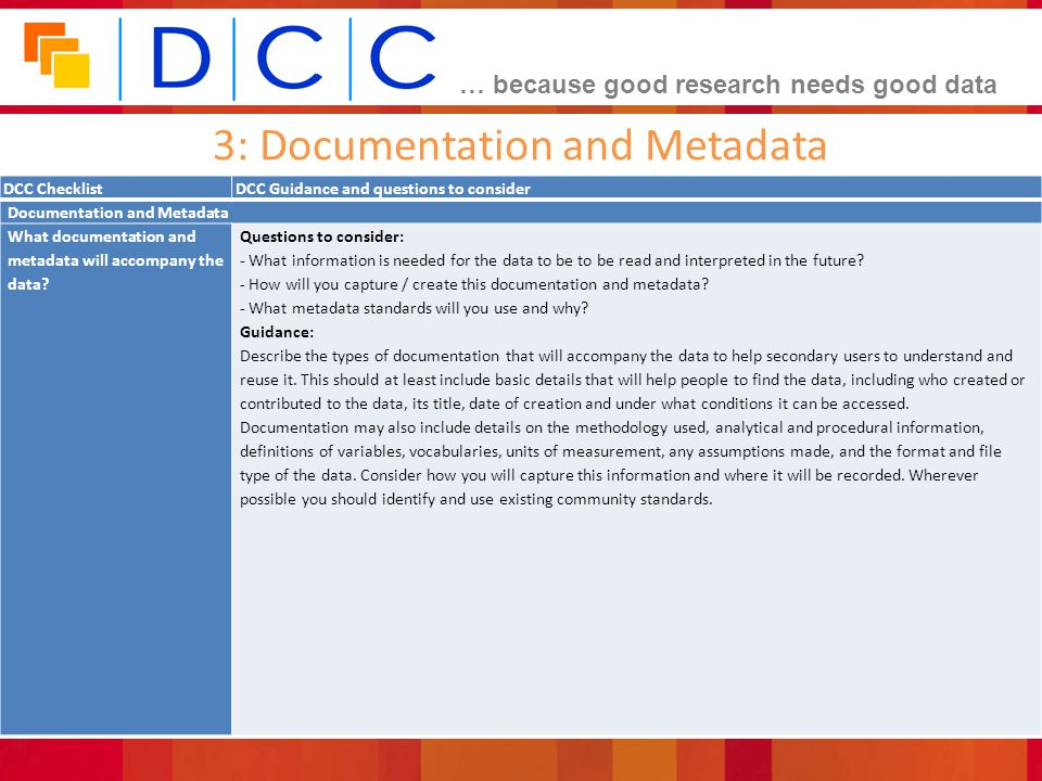 3: Documentation and Metadata