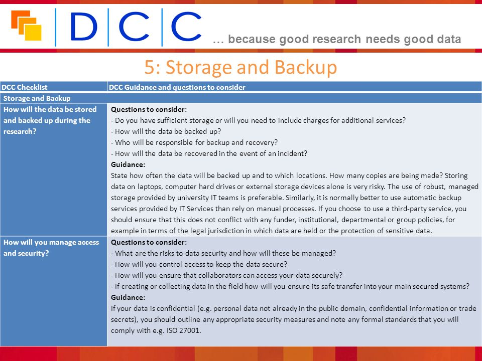 5: Storage and Backup DCC Checklist