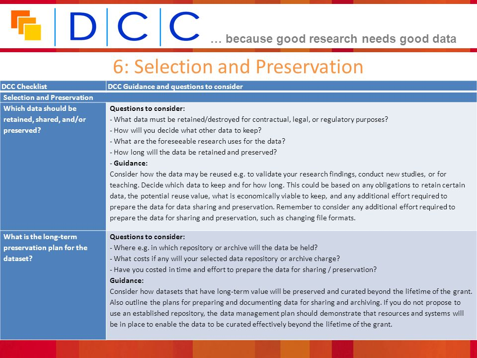 6: Selection and Preservation