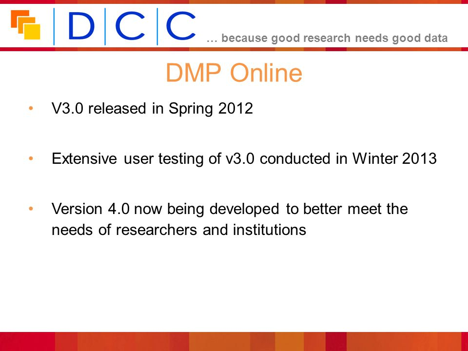 DMP Online V3.0 released in Spring 2012
