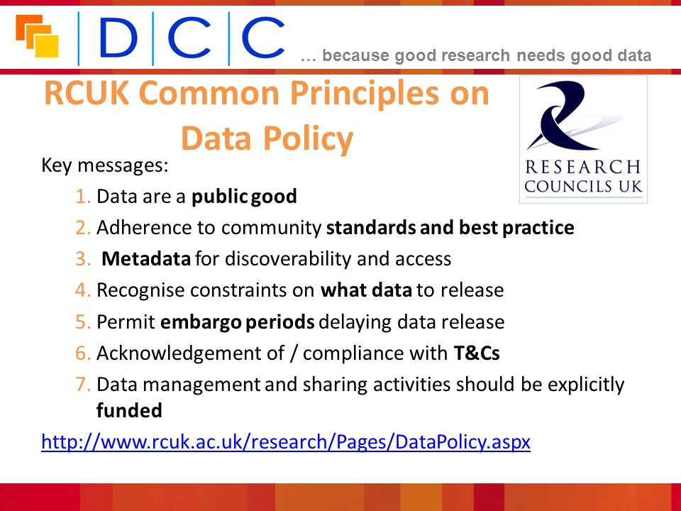RCUK Common Principles on Data Policy