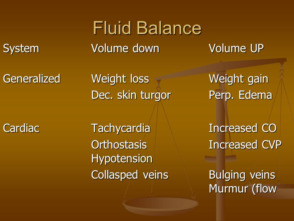 Fluid Balance System Volume down Volume UP