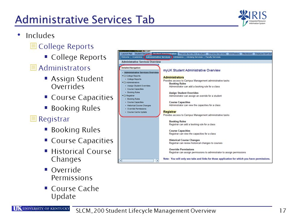 Administrative Services Tab
