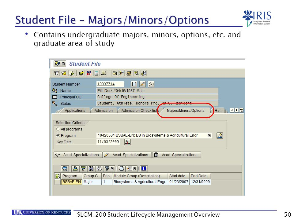 Student File – Majors/Minors/Options