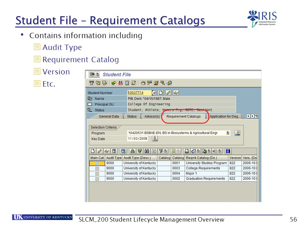 Student File – Requirement Catalogs