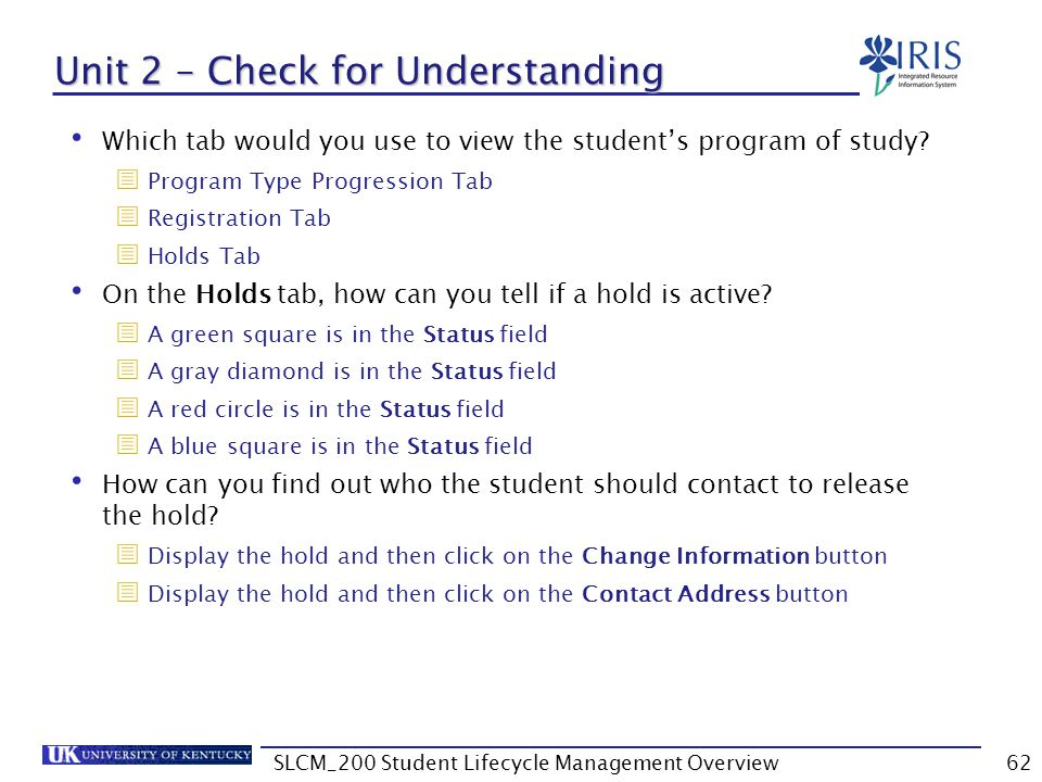 Unit 2 – Check for Understanding