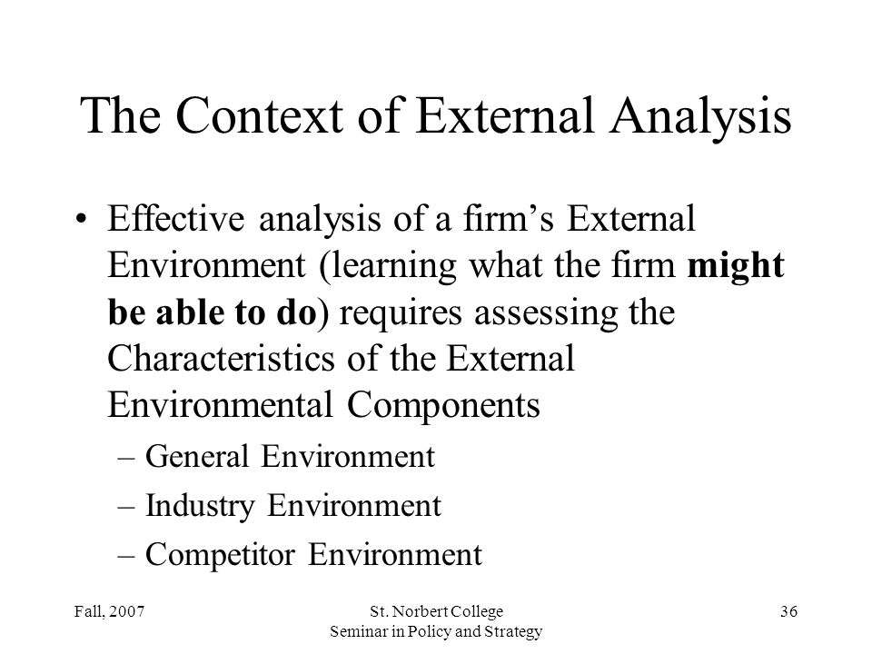 The Context of External Analysis