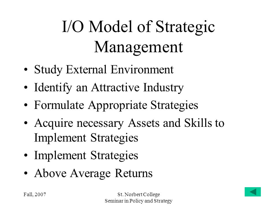 I/O Model of Strategic Management