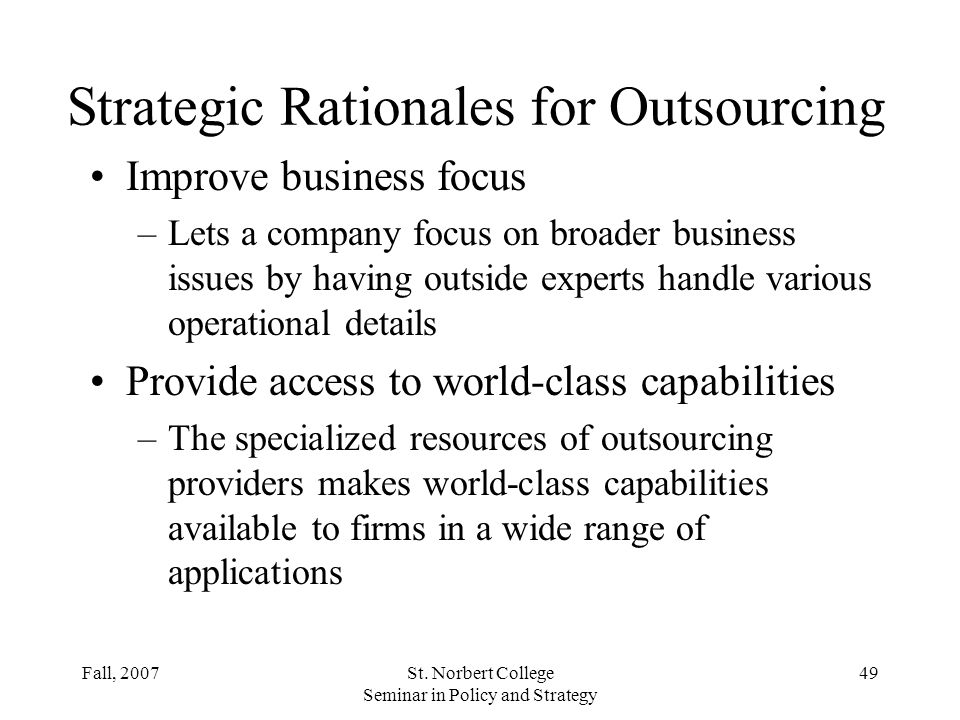 Strategic Rationales for Outsourcing