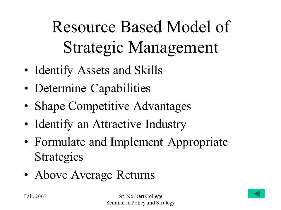 Resource Based Model of Strategic Management