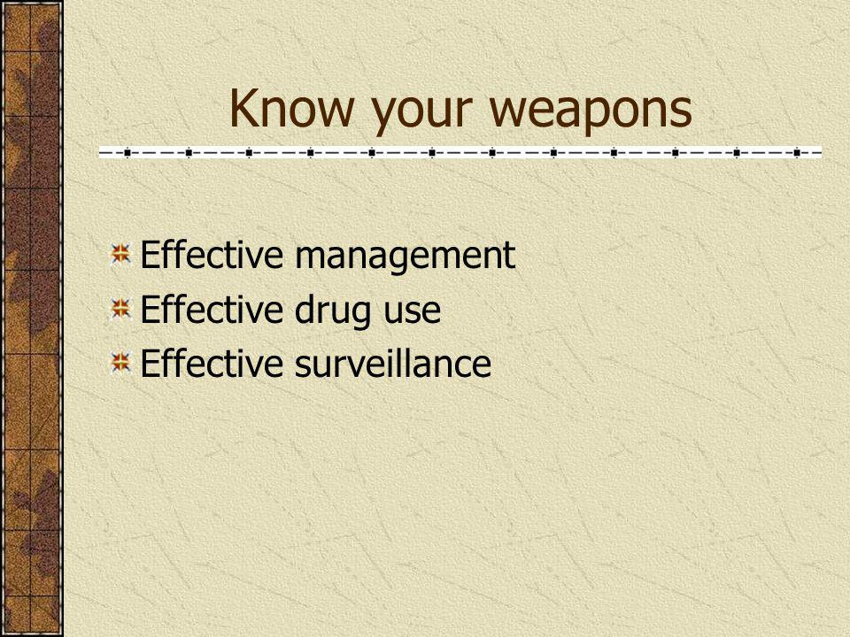 Know your weapons Effective management Effective drug use