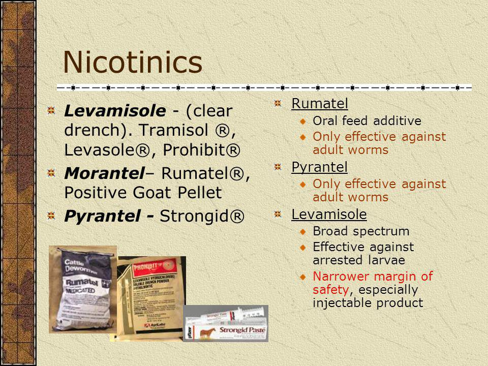 Nicotinics Rumatel. Oral feed additive. Only effective against adult worms. Pyrantel. Levamisole.