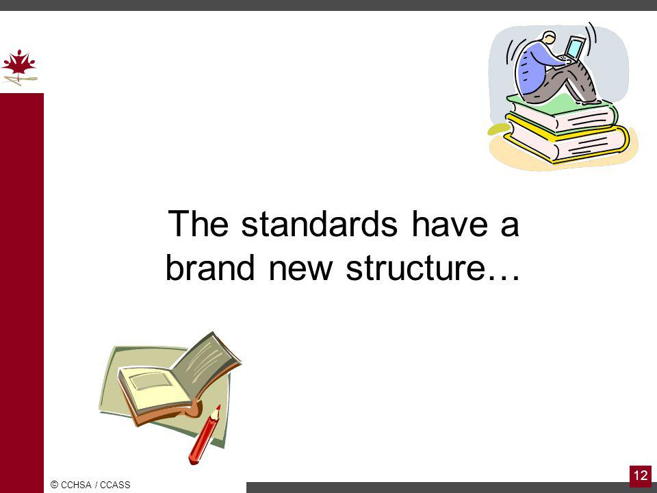 The standards have a brand new structure…