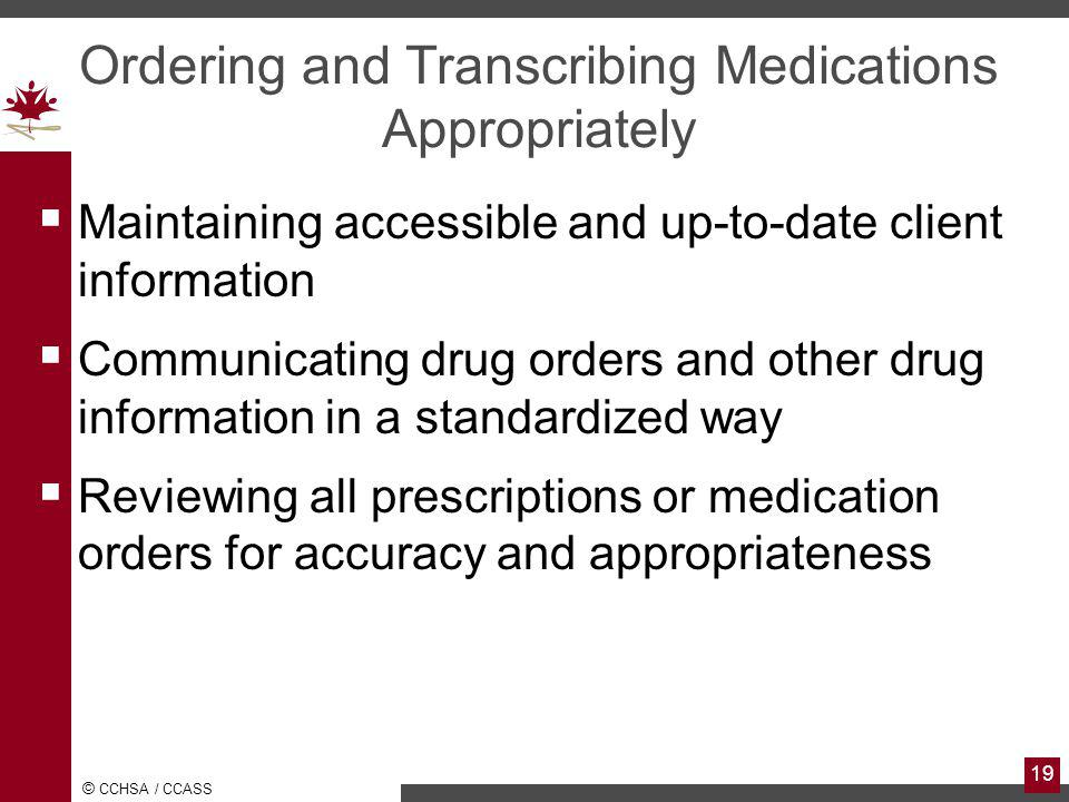Ordering and Transcribing Medications Appropriately