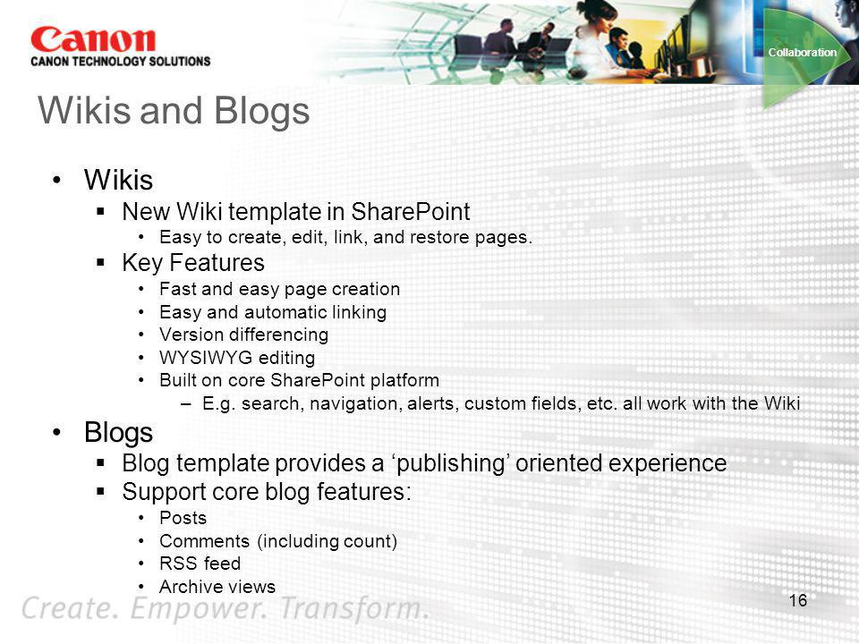 Wikis and Blogs Wikis Blogs New Wiki template in SharePoint