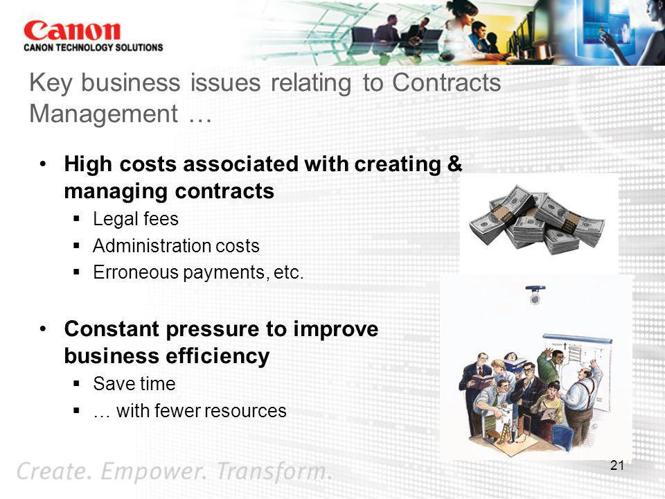 Key business issues relating to Contracts Management …