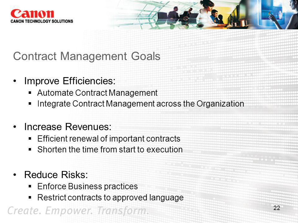 Contract Management Goals