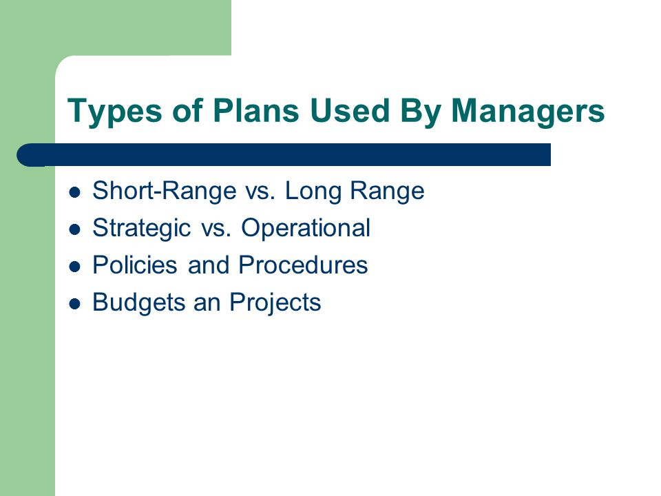 Types of Plans Used By Managers