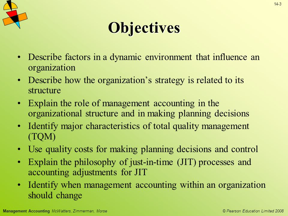 Objectives Describe factors in a dynamic environment that influence an organization.