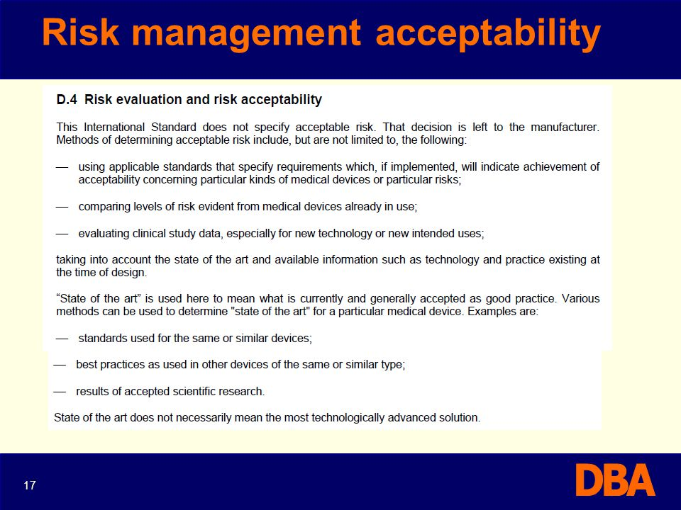 Risk management acceptability