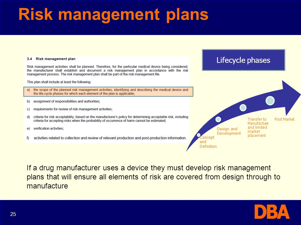 Risk management plans Lifecycle phases