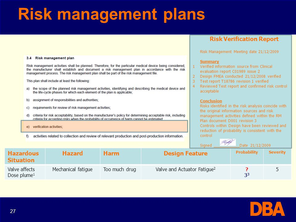 Risk management plans Hazardous Situation Hazard Harm Design Feature